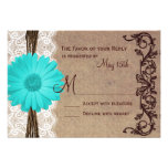 Rustic Teal Gerber Daisy Lace Wedding RSVP Cards Personalized Invites