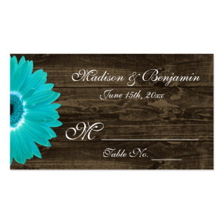 Rustic Teal Gerber Daisy Wedding Place Cards Business Card Template