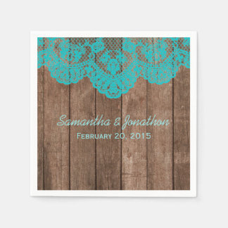 Rustic Teal Lace and Wood Wedding Disposable Napkin