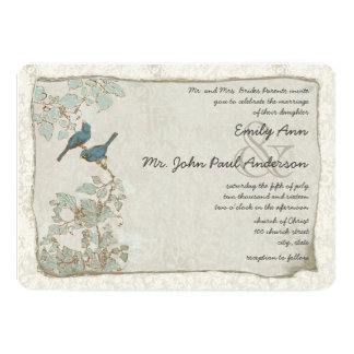 Rustic Teal Love Bird Damask Wedding Invitations