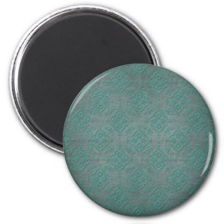 Rustic Teal over Pewter Steel Grey Damask 6 Cm Round Magnet