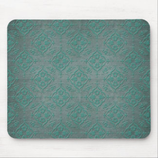 Rustic Teal over Pewter Steel Grey Damask Mouse Mat
