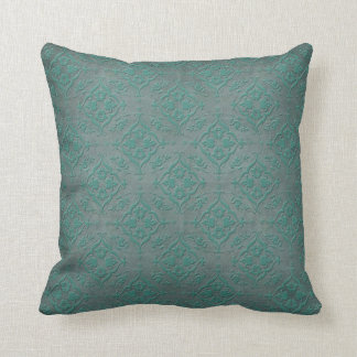 Rustic Teal over Pewter Steel Grey Damask Throw Pillow