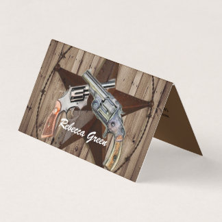 rustic texas star cowboy western country pistols business card