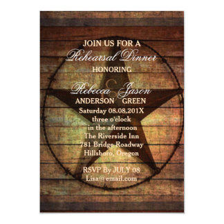 rustic texas star western wedding rehearsal dinner card
