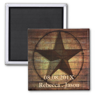 rustic texas star western wedding save the date refrigerator magnets