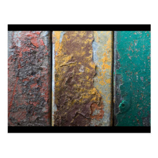 Rustic Texture With Flaking Paint On Rusty Metal Postcard