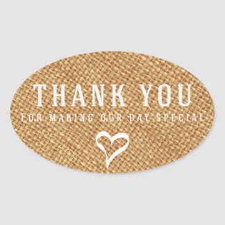 Rustic Thank You Brown Burlap Wedding With Heart Oval Sticker