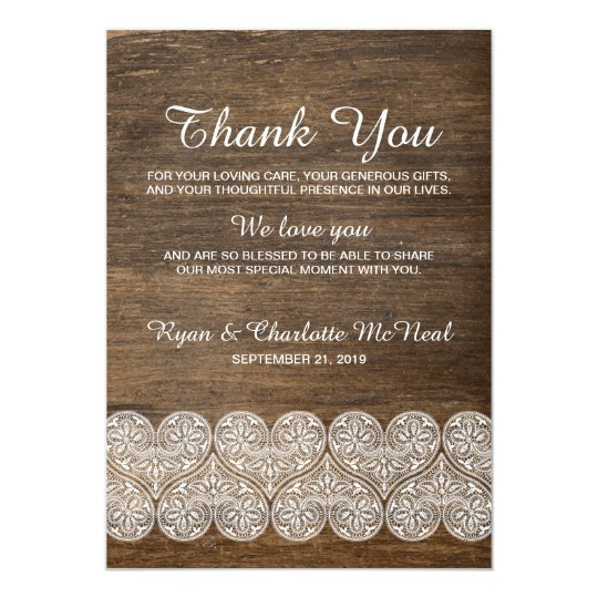 Rustic Thank You card with lace over wood