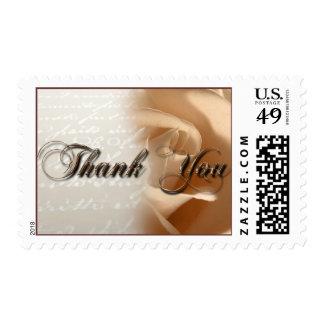 Rustic Thank You Cream Rose Wedding Postage