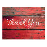 Rustic Thank You Distressed Red Wood Postcard