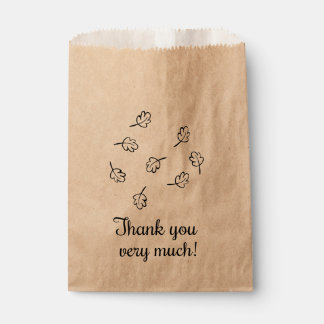 Rustic Thank You Leaves, Autumn Wedding Favour Bags