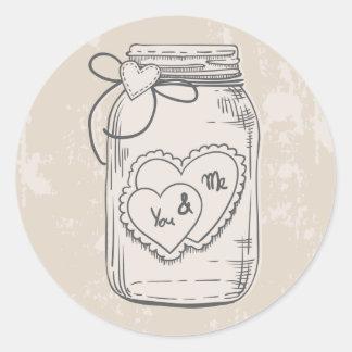 Rustic Thank You Mason Jar Hearts Tan Wedding Round Sticker