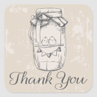 Rustic Thank You Mason Jar Hearts Tan Wedding Square Sticker