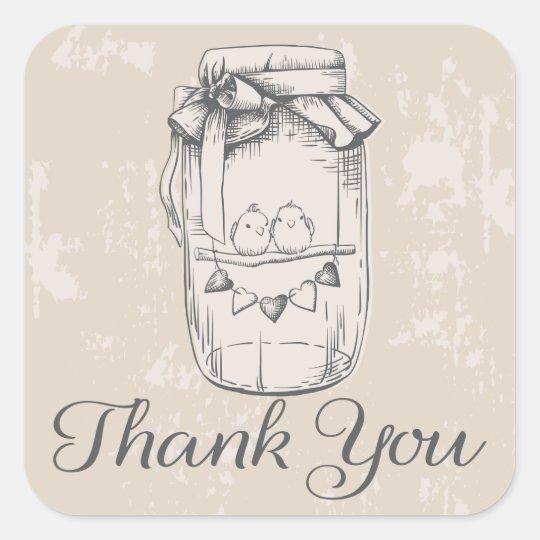 Rustic Thank You Mason Jar Hearts Tan Wedding