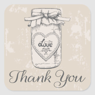 Rustic Thank You Mason Jar Hearts Tan Wedding Square Sticker