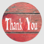 Rustic Thank You Red Distressed Wood Sticker