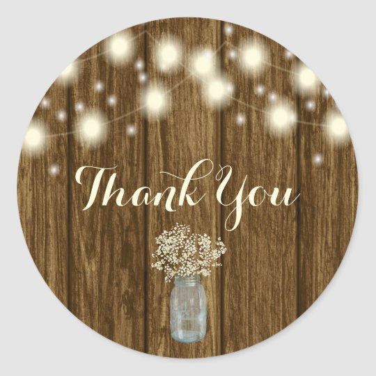 Rustic Thank You Sticker, Thank You Tag, Rustic Classic Round Sticker