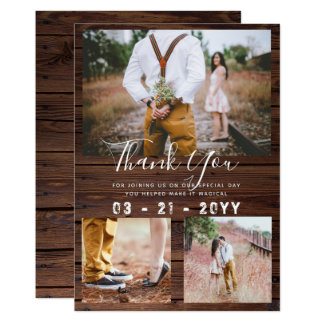 RUSTIC Thank You Wedding PHOTO COLLAGE Barn Card