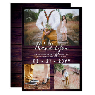 RUSTIC Thank You Wedding PHOTO COLLAGE Purple Card