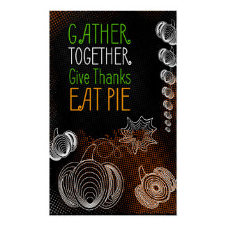 Rustic Thanksgiving design with pumpkins Poster