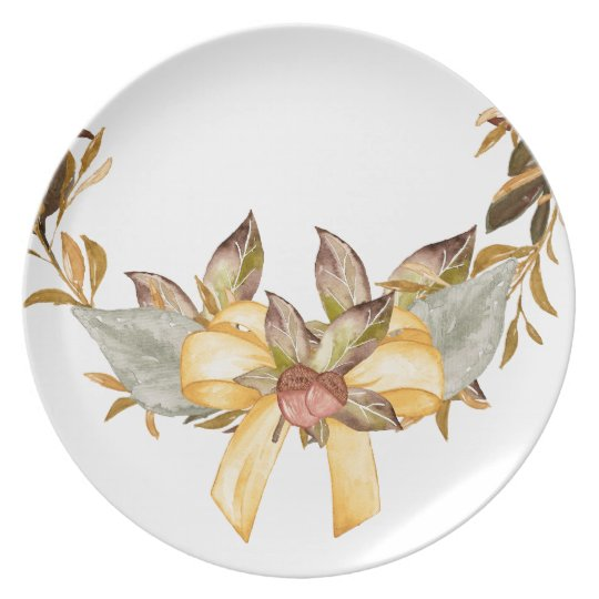 Rustic Thanksgiving Wreath Bow Melamine Plate