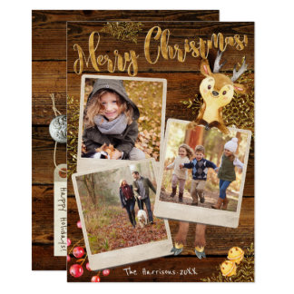 Rustic Three Photo Collage Personalised Christmas Card