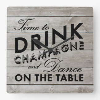 Rustic Time to Drink Champagne Wall Clock