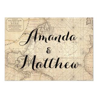 Rustic Travel Inspired Map Wedding Invitation