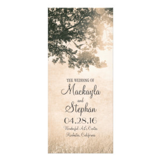 Rustic tree and love birds wedding programs 10 cm x 23 cm rack card