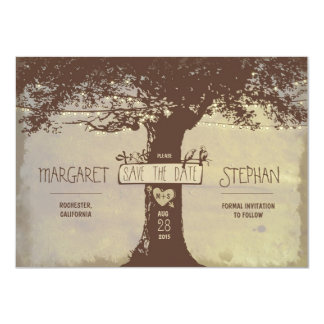 "rustic tree and string lights save the date card 4.5"" x 6.25"" invitation card"