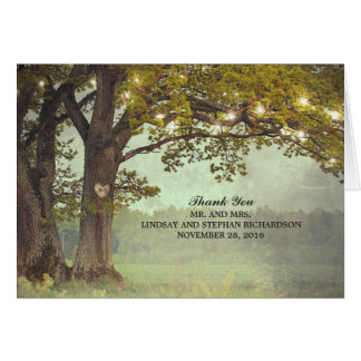 Rustic Tree and String Lights Wedding Thank You Note Card