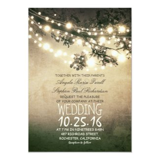 Rustic Tree Branches and Lights Vintage Wedding