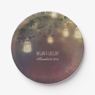 Rustic Tree Branches and Mason Jar Fireflies Paper Plate