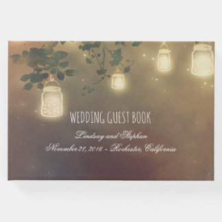 Rustic Tree Branches and Mason Jar Lights Wedding Guest Book