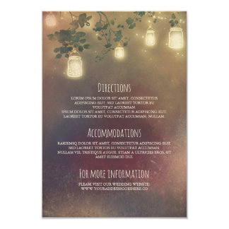 Rustic Tree Branches and Mason Jars Wedding Detail Card