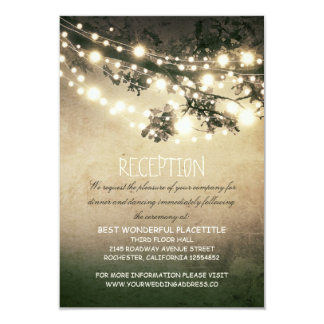 rustic tree branches & lights wedding reception 9 cm x 13 cm invitation card
