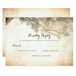 Rustic Tree Branches Outdoor Wedding RSVP Card