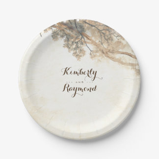 Rustic Tree Branches Paper Plate