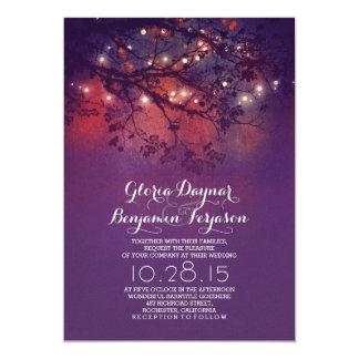 Rustic tree branches purple string lights wedding card