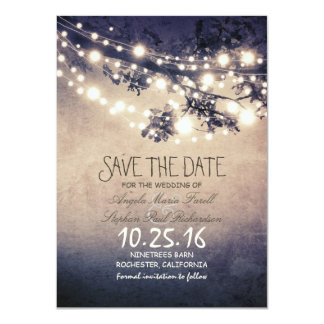 Rustic tree branches & string lights save the date card