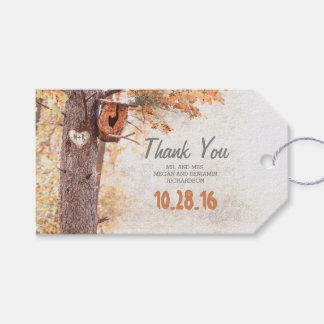 Rustic Tree Carved Heart Fall Wedding Gift Tags