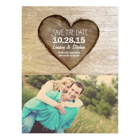 Rustic tree carved wood heart photo save the