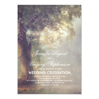Rustic Tree Dreamy String Lights Vintage Wedding Card