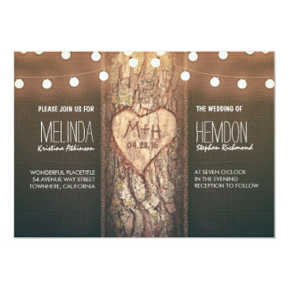 rustic tree heart and string lights wedding invite