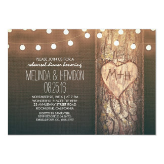 rustic tree heart & string lights rehearsal dinner card