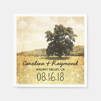 Rustic Tree in Enchanted Firefly Meadow Wedding Paper Serviettes