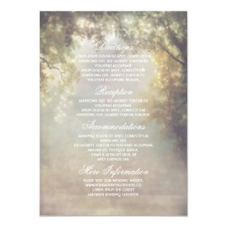 Rustic Tree Lights Bracnhes Wedding Information Card