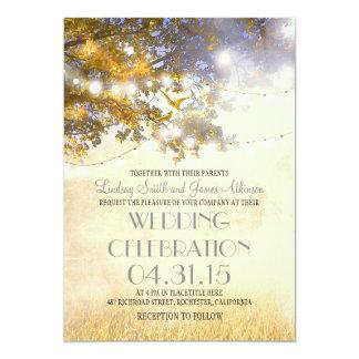 rustic tree & love birds string lights wedding 13 cm x 18 cm invitation card