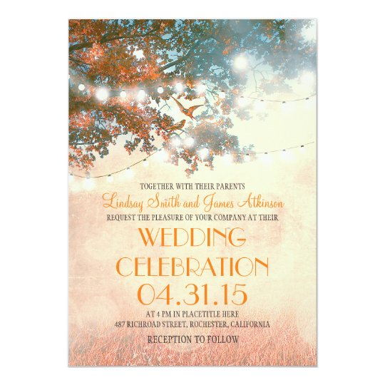 rustic tree & love birds string lights wedding